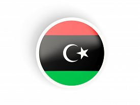 pic of libya  - Round sticker with flag of libya isolated on white - JPG