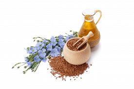 picture of flax seed oil  - linseed oil flax seed and flowers isolated on a white background - JPG