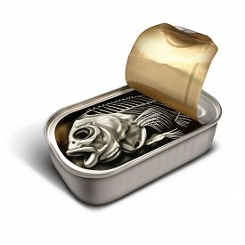 image of promises  - Empty promise concept as an open sardine can with a fish skeleton inside as a disappointment business metaphor and a symbol for worthless meanigless fraud or fleecing the public - JPG