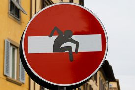 image of no entry  - No entry sign with a man that come out from signal steet art metropolitan - JPG