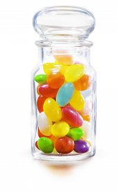 stock photo of jar jelly  - Colorful sweet Jelly Beans in the Jar. Isolated on white background. - JPG