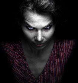 image of evil  - Scary spooky evil woman in the dark - JPG