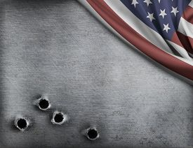 picture of ironclad  - metal background with bullet holes and USA flag - JPG