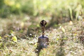 foto of tibetan  - Brown Tibetan bell on the grass with sunshine - JPG