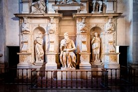 picture of prophets  - Sculpture of the prophet Moses made by the famous artist Michelangelo in the church of San Pietro in Vincoli in Rome Italy - JPG