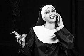 image of lewd  - Smoking young nun - JPG