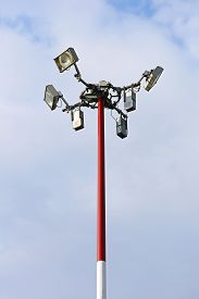 picture of light-pole  - Light Pole with Antenna for Cellular Network Tower - JPG