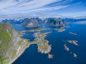 pic of reining  - Picturesque fishing port Reine on Lofoten islands from air - JPG