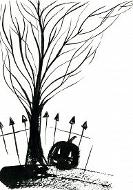 picture of scary face  - Art freehand watercolor sketch outline illustration of black halloween holiday pumpkin with scary face fence bare tree on graveyard on white background vertical picture - JPG