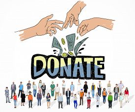 foto of generous  - Donate Money Charity Generous Hands Concept - JPG