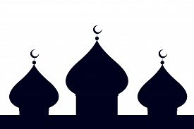 picture of ramazan mubarak  - Silhouette of a mosque over a white background - JPG