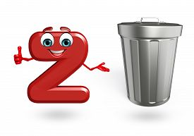 picture of dustbin  - 3d rendered illustration of alphabet Z Cartoon Character with dustbin - JPG