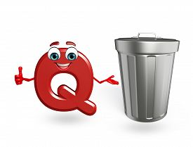 stock photo of dustbin  - 3d rendered illustration of alphabet Q Cartoon Character with dustbin - JPG