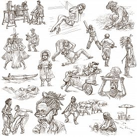 image of freehand drawing  - UNITED COLORS OF HUMAN RACE People around the World  - JPG