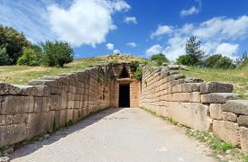foto of treasury  - The Treasury of Atreus or Tomb of Agamemnon is an impressive tholos tomb at Mycenae - JPG