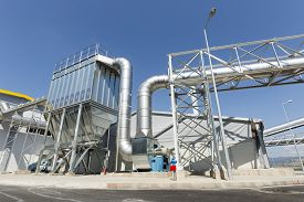 pic of combustion  - New modern industrial waste plant pipelines from the outside - JPG