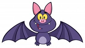 foto of vampire bat  - Happy Vampire Bat Cartoon Character Flying - JPG