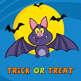 picture of vampire bat  - Happy Vampire Bat Cartoon Mascot Character Flying - JPG