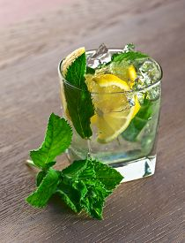 picture of peppermint  - cocktail with lemon ice and peppermint leaves - JPG