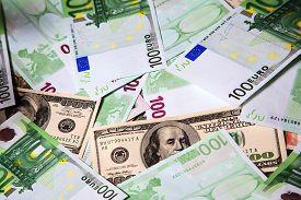image of 100 dollars dollar bill american paper money cash stack  - 100 Euros and 100 Dollars money stack - JPG
