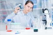 Woman Scientist Adding Liquid To Test Tube With Pipette In Lab poster