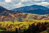 Mountainous Rural Area In Late Autumn poster