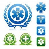 foto of serpent  - medical icons on various glossy button - JPG