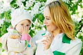 foto of nasal catarrh  - Doctor and child during spring allergic blossom dust season - JPG