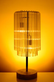 image of lamp shade  - Home interior glass lamp shade with warm light - JPG
