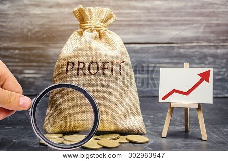 poster of Money Bag With The Word Profit And An Up Arrow. Concept Of Business Success, Financial Growth And We