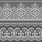 Decorative Vintage Lace Seamless Vector Pattern, Ornamental Repetitive Design With Flowers And Swirl poster