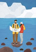 Cute Couple In Love Performing Outdoor Touristic Activity - Adventure Travel, Hiking Or Backpacking. poster