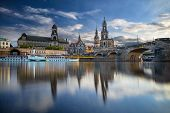 Dresden, Germany. Cityscape Image Of Dresden, Germany With Reflection Of The City In The Elbe River, poster