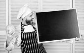 Tips To Cook Like Pro. Man Chef Hat Apron Hold Blackboard Copy Space. Recipe Concept. Cooking Delici poster