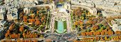Panoramic View From The Eiffel Tower On The Trocadero Gardens And The Chaillot Palace In Paris, A La poster