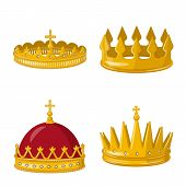 Vector Design Of Monarchy And Gold Sign. Set Of Monarchy And Heraldic Vector Icon For Stock. poster