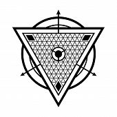 Sacred Geometry. Crossed Linear Triangles. Secret Symbol Of Geometry. Triangular Symbol. Labyrinth O poster