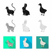Vector Illustration Of Breeding And Kitchen  Logo. Collection Of Breeding And Organic  Stock Symbol  poster