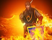 image of knights  - Medieval knight on fire background - JPG