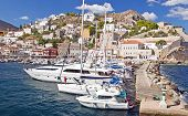 stock photo of hydra  - Harbour and Marina of Hydra island - JPG