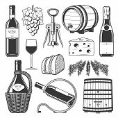 Wine Production, Winemaking And Wine Drinking Culture Icons. Vector Winery Wooden Barrel, Vintage Gr poster