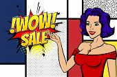 Vintage Blue Hair Pop Art Girl Shopping. Halftone Pattern Comic Book Backdrop. Wow Smiling Face Pop  poster
