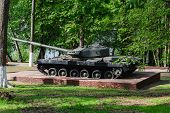 Monument To Russian Tank In The Summer Park. Historical Monument. poster