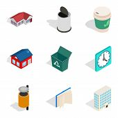 Homely Atmosphere Icons Set. Isometric Set Of 9 Homely Atmosphere Icons For Web Isolated On White Ba poster