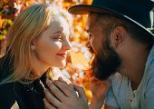 They Radiate Love. Bearded Hipster Man And Tender Blonde Woman In Love. Couple In Love Happy Faces C poster
