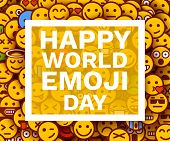 Happy World Emoji Day. Greeting Card Or Banner. Emoji Smiles Crowd. poster