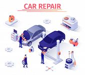 Banner Template For Car Repair Service. Team Of Masters, Mechanics, Diagnostician Man At Work In Gar poster
