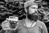 On Break. Man Drinker Holding Beer Mug Outdoors. Brutal Hipster Having Craft Beer On Summer Day. Bea poster