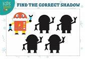 Find The Correct Shadow For Cute Cartoon Robot Educational Preschool Kids Mini Game. Vector Illustra poster