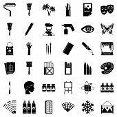Art College Icons Set. Simple Set Of 36 Art College Icons For Web Isolated On White Background poster